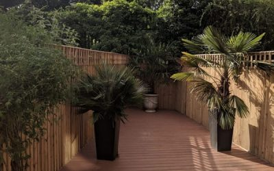 New Fence and Tiki Torch Trex Decking in Buckinghamshire