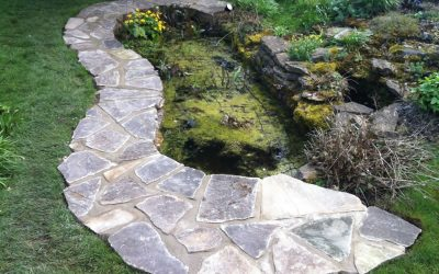 Yorkstone Paving Surround A Pond In Oxford