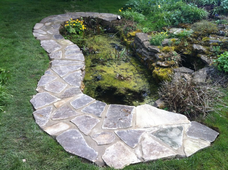 Paving surrounding a pond in Oxford
