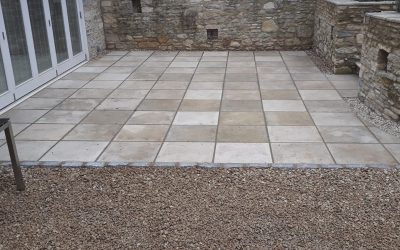Patio Installed With Sand Stone Slabs
