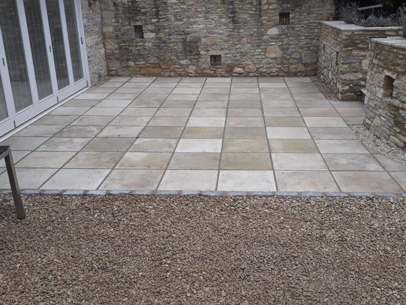 sand stone slabs patio